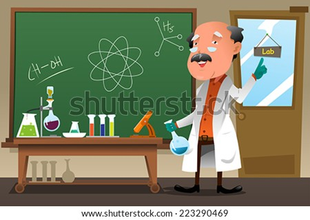 A vector illustration of chemistry professor working at the lab - stock vector
