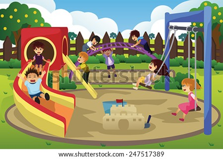 A vector illustration of children playing in the playground - stock vector