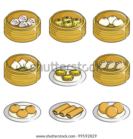 A vector illustration of Chinese dim sum icons - stock vector