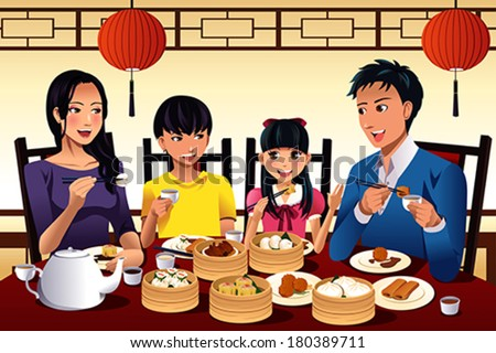 A vector illustration of Chinese family eating dim sum at a Chinese restaurant - stock vector