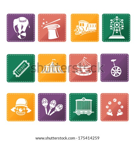 A vector illustration of circus icon sets - stock vector