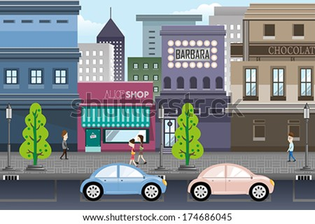 A vector illustration of city life - stock vector