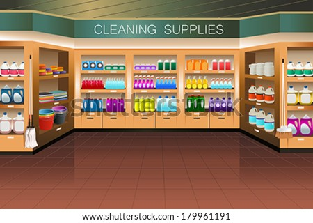 A vector illustration of cleaning supply section in grocery store - stock vector