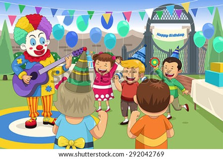 A Vector Illustration Of Clown At Kids Birthday Party