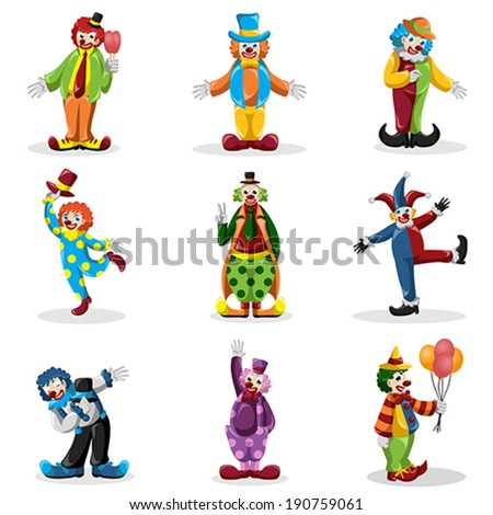 A vector illustration of clown icons sets - stock vector