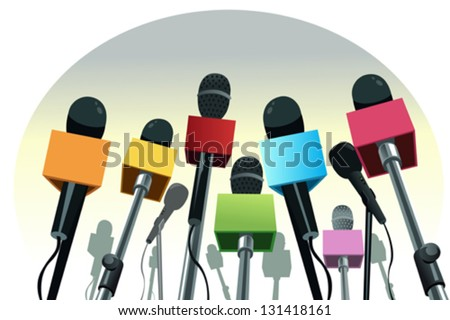 A vector illustration of colorful microphones on the podium with copy space - stock vector