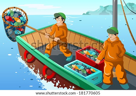 A vector illustration of commercial fisherman fishing at the sea - stock vector