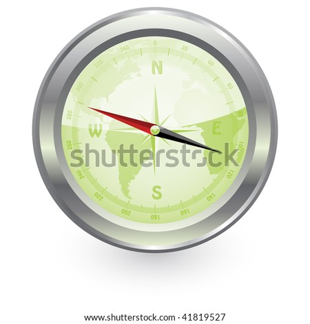 a vector illustration of compass - stock vector