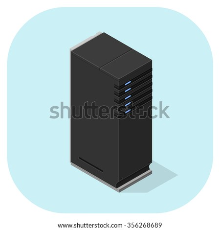 A vector illustration of computer servers. Isometric servers icon illustration. Sever network computer concepts. - stock vector