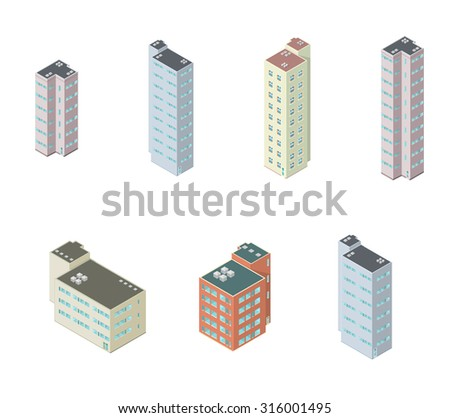 A vector illustration of condominiums. Isometric Apartment Blocks vector illustration icon set. Hi rise apartment block flats or condos. - stock vector