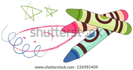 A vector illustration of crayons