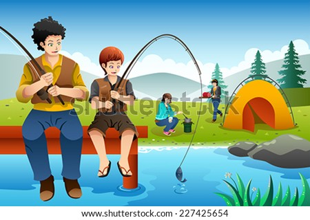 Vector illustration dad son fishing while stock vector for Where to get a fishing license near me