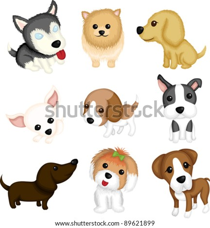 A vector illustration of different dog breeds - stock vector