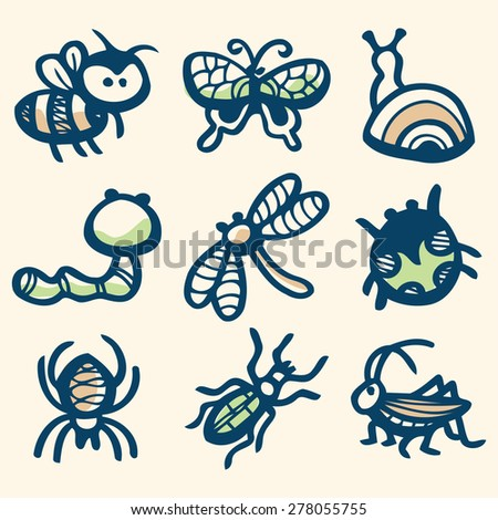 A vector illustration of different insects collection in ink stained doodle style. - stock vector
