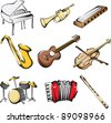 A vector illustration of different musical instruments icons - stock vector