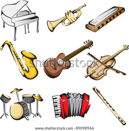 A vector illustration of different musical instruments icons