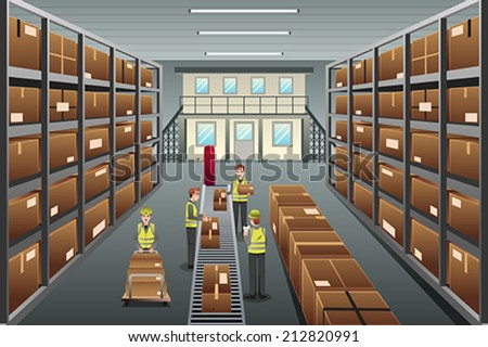A vector illustration of distribution warehouse viewed from above - stock vector