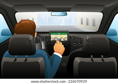 A vector illustration of driving man using GPS to find a location - stock vector