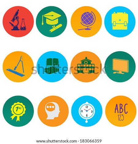 A vector illustration of education icon sets
