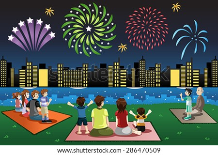 A vector illustration of families watching fireworks in a park - stock vector
