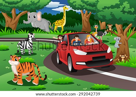 A vector illustration of family on a trip to an animal park - stock vector