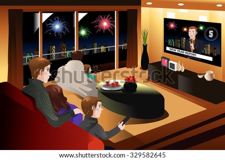 A vector illustration of family spending time together on New Year Eve - stock vector