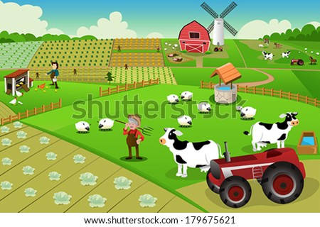 A vector illustration of farm life viewed from above - stock vector