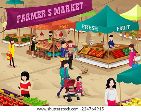 A vector illustration of farmers market scene - stock vector