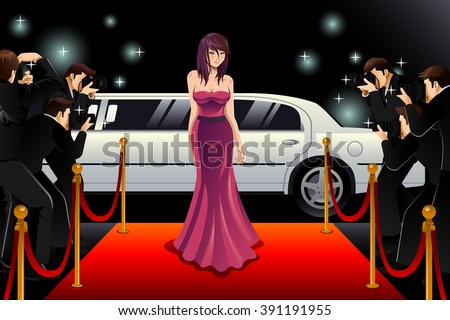 A vector illustration of fashionable woman going to a red carpet event - stock vector