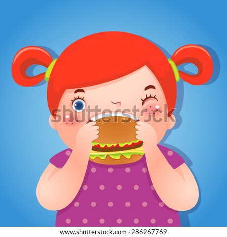 A vector illustration of fat girl eating delicious hamburger - stock vector