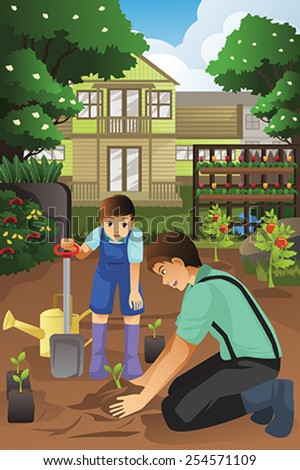 A vector illustration of father and son planting in the garden together - stock vector