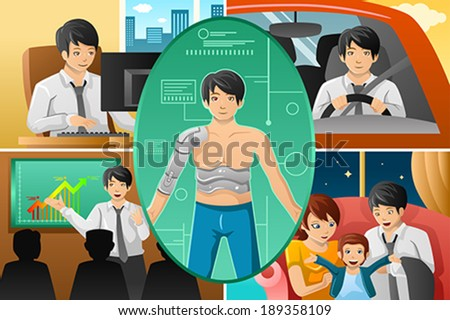 A vector illustration of Father handling multiple tasks, portrayed as half human half machine - stock vector