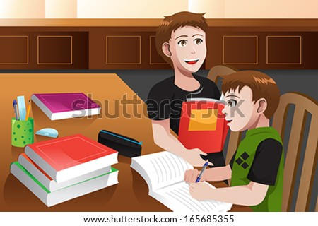 A vector illustration of father helping his son doing his homework - stock vector