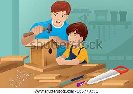 A vector illustration of father making a birdhouse with his son - stock vector