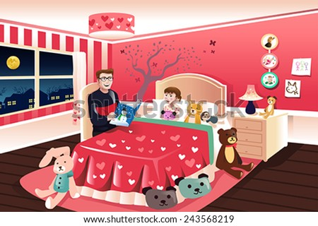 A vector illustration of father reading a bedtime story to his daughter - stock vector