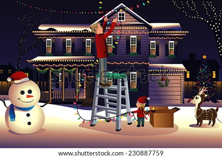 A vector illustration of father son putting up lights around the house together for Christmas  - stock vector