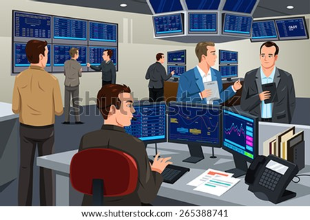A vector illustration of financial stock trader working in a trading room - stock vector