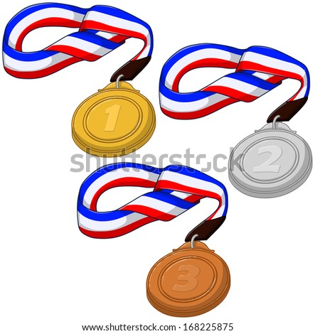 A vector illustration of first, second and third place competition medals.