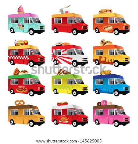 A vector illustration of food truck icon designs - stock vector