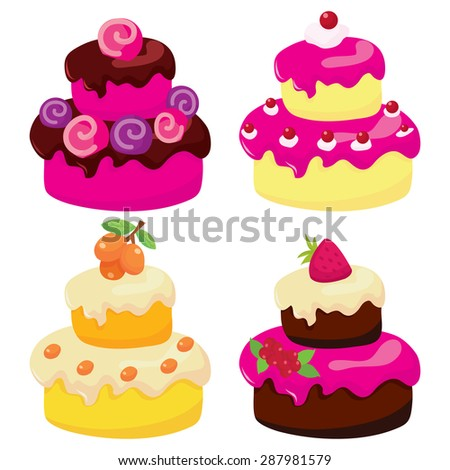 A vector illustration of four different types of two tier cakes. They make great birthday or wedding cakes.