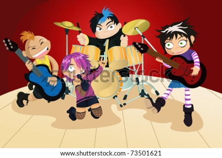 A vector illustration of four kids in a rock band - stock vector