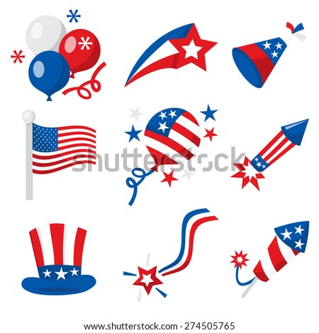 A vector illustration of fourth of july or american patriotic icons like balloons, firecrackers and decorations.