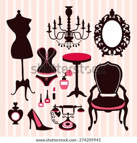 A Vector Illustration Of French Vintage Boudoir Inspired Design Elements Like Dress Form Chandelier