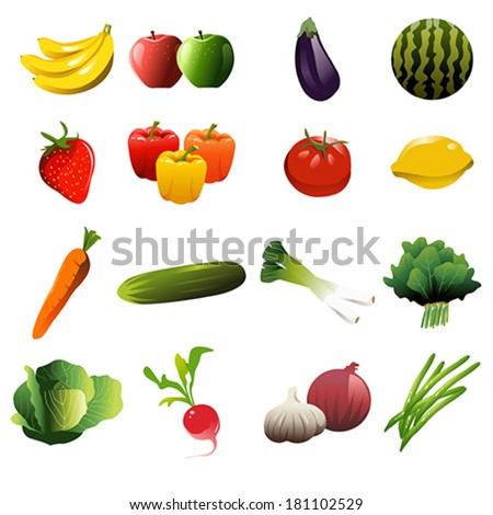 A vector illustration of fruit and vegetable icons