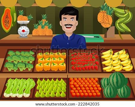 A vector illustration of fruit seller in a farmer market - stock vector
