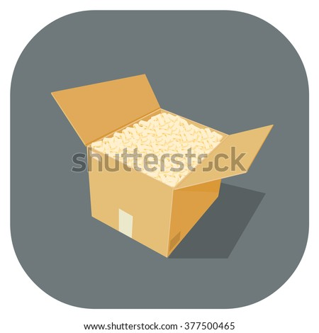 A vector illustration of full cardboard box Icon containing new goods.  Protection, safety and packing material for the transporting goods and merchandise. Full cardboard Storage box crate.