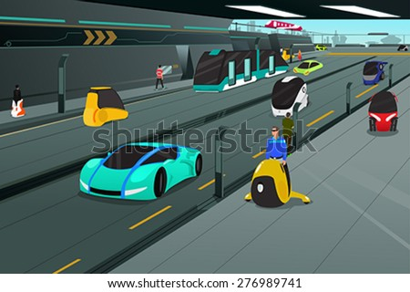 A vector illustration of futuristic city transportation - stock vector