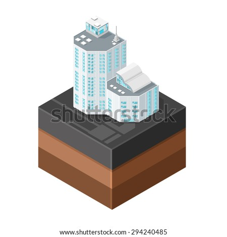 A vector illustration of generic modern offices on asphalt tile. Isometric Modern Offices icon illustration. Urban commercial financial company buildings on tile surface. - stock vector