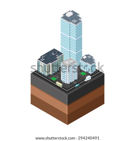 A vector illustration of generic modern offices on asphalt tile with transport and road. Isometric Modern Offices icon illustration. Urban commercial financial company buildings on tile surface. - stock vector