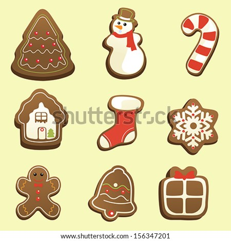 A vector illustration of gingerbread icon sets - stock vector